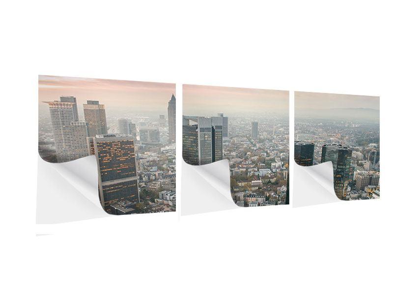 Panorama Klebeposter 3-teilig Skyline Penthouse in New York