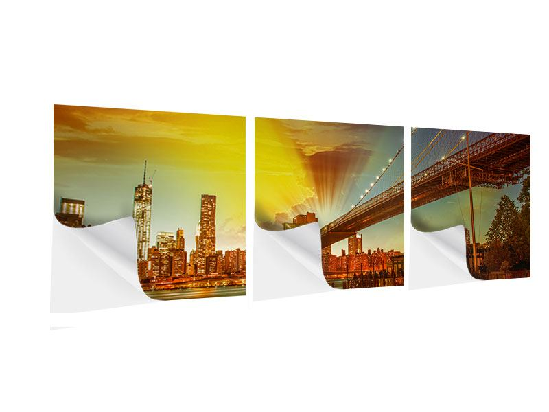 Panorama Klebeposter 3-teilig Skyline Brooklyn Bridge NY