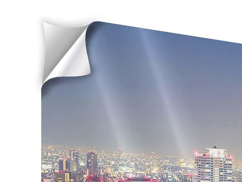 Panorama Klebeposter 3-teilig Skyline Osaka bei Sonnenuntergang