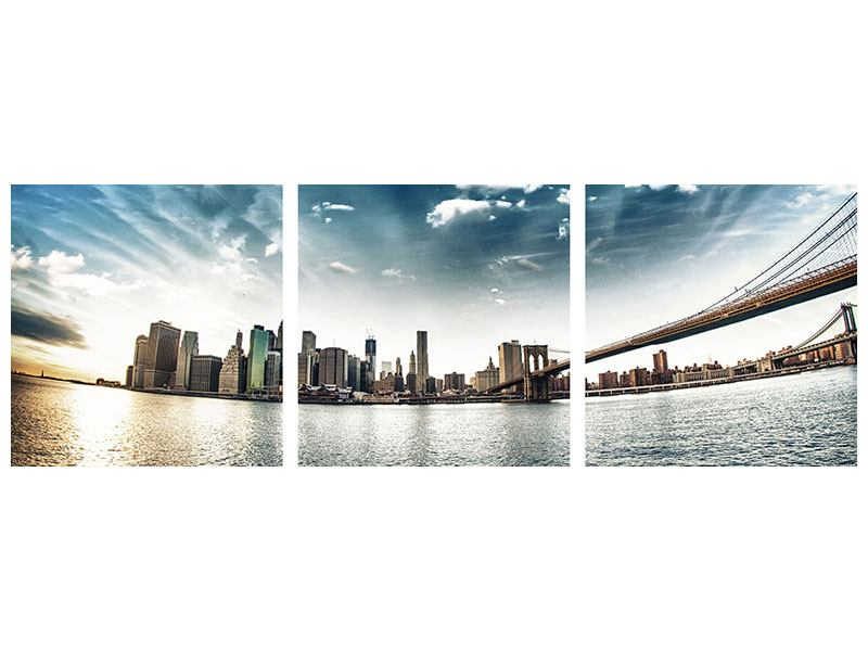 Panorama Klebeposter 3-teilig Brooklyn Bridge From The Other Side