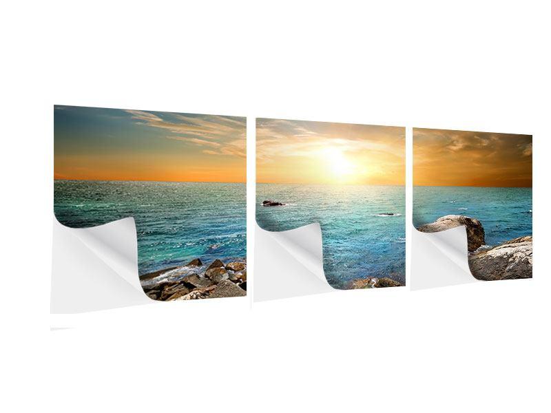 Panorama Klebeposter 3-teilig Meerwasser