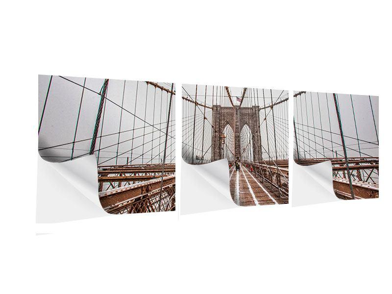 Panorama Klebeposter 3-teilig Auf der Brooklyn Bridge