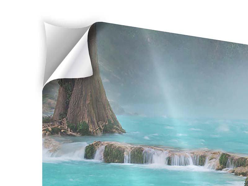 Panorama Klebeposter 3-teilig Haus am Wasserfall