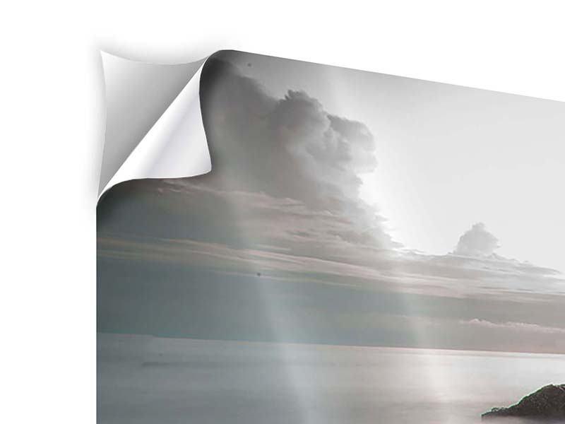 Panorama Klebeposter 3-teilig Steine am Strand