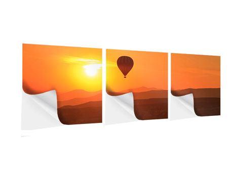 Panorama Klebeposter 3-teilig Heissluftballon bei Sonnenuntergang