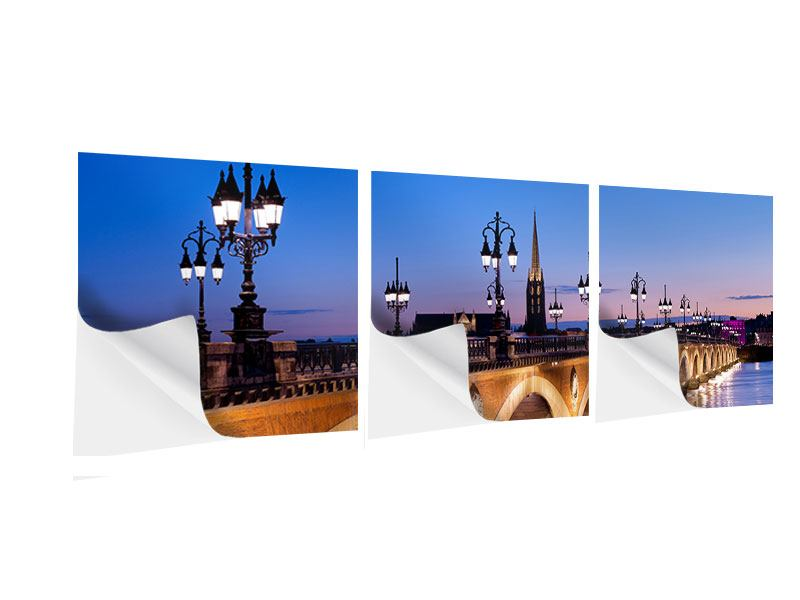 Panorama Klebeposter 3-teilig Pont De Pierre bei Sonnenuntergang