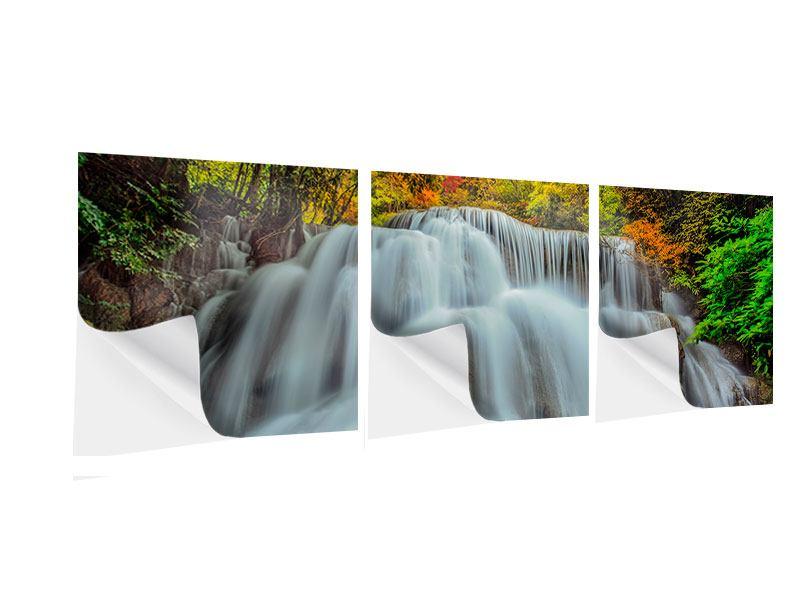 Panorama Klebeposter 3-teilig Fallendes Gewässer