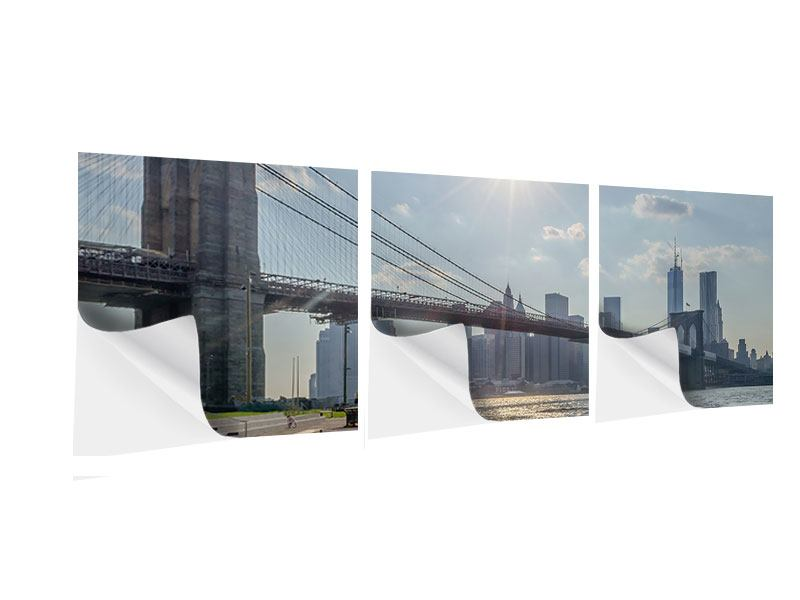 Panorama Klebeposter 3-teilig Brooklyn Bridge