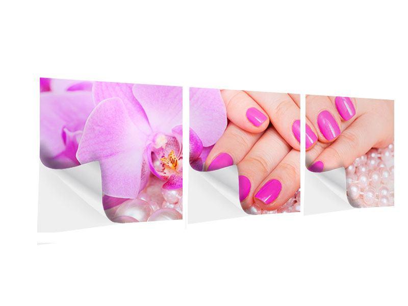 Panorama Klebeposter 3-teilig Manikürte Hände