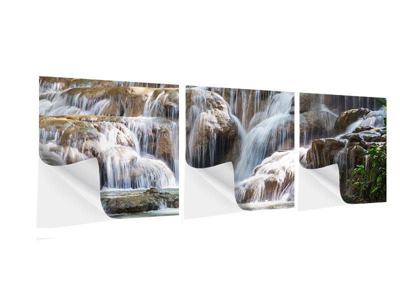 Panorama Klebeposter 3-teilig Mexikanischer Wasserfall