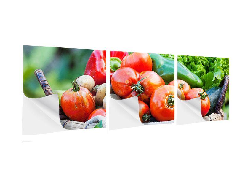 Panorama Klebeposter 3-teilig Gemüsekorb