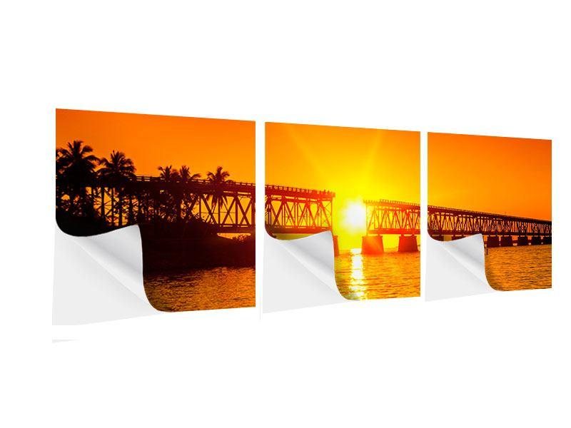 Panorama Klebeposter 3-teilig Sonnenuntergang an der Brücke