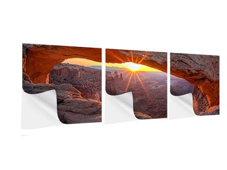 Panorama Klebeposter 3-teilig Sonnenuntergang am Mesa Arch