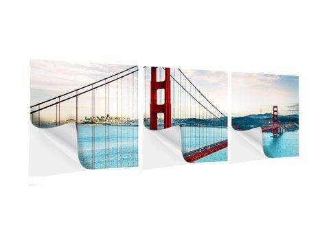 Panorama Klebeposter 3-teilig Golden Gate Bridge
