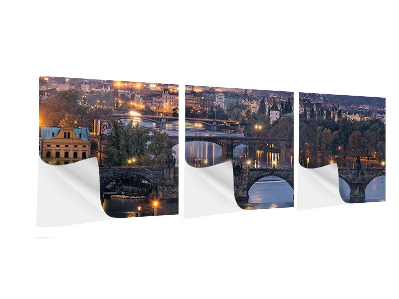 Panorama Klebeposter 3-teilig Brücken in Prag