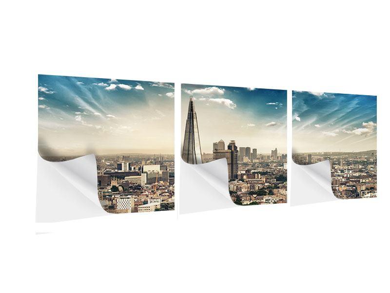 Panorama Klebeposter 3-teilig Skyline Über den Dächern von London