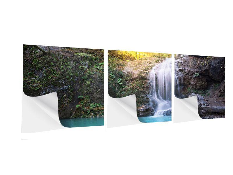Panorama Klebeposter 3-teilig Fliessender Wasserfall