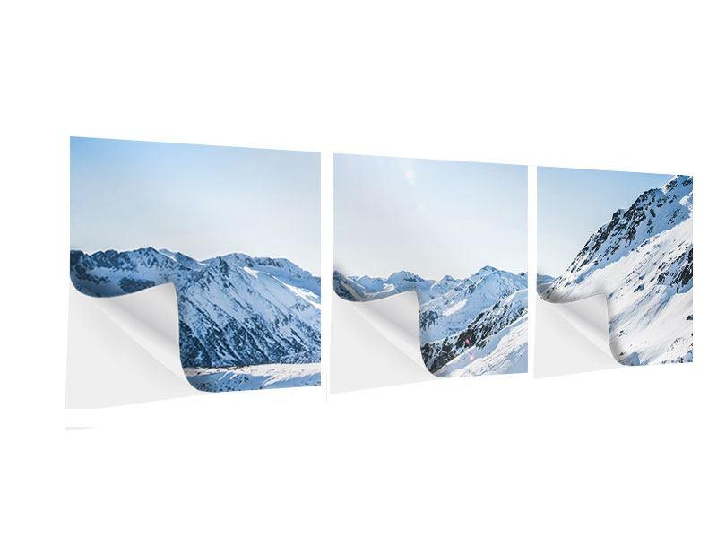 Panorama Klebeposter 3-teilig Bergpanorama im Schnee
