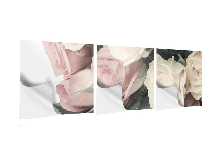 Panorama Klebeposter 3-teilig Rosenromantik