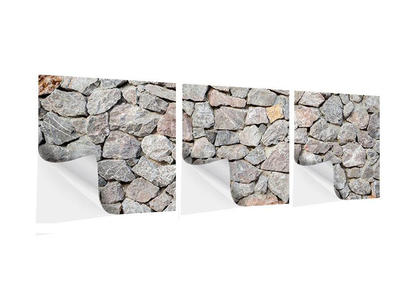 Panorama Klebeposter 3-teilig Grunge-Stil Mauer