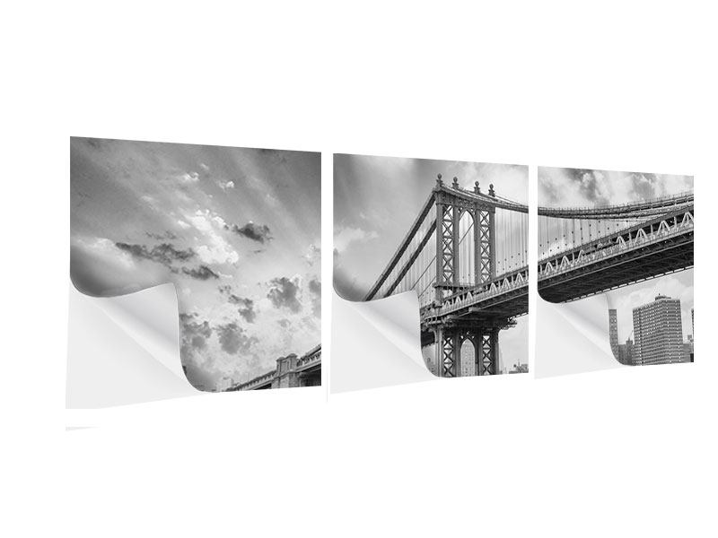 Panorama Klebeposter 3-teilig Manhattan Bridge