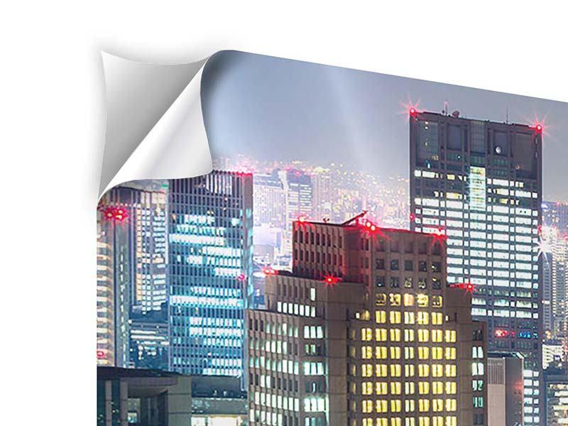 Panorama Klebeposter 3-teilig Skyline Osaka im Lichtermeer