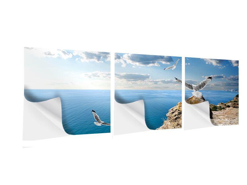 Panorama Klebeposter 3-teilig Die Möwen und das Meer