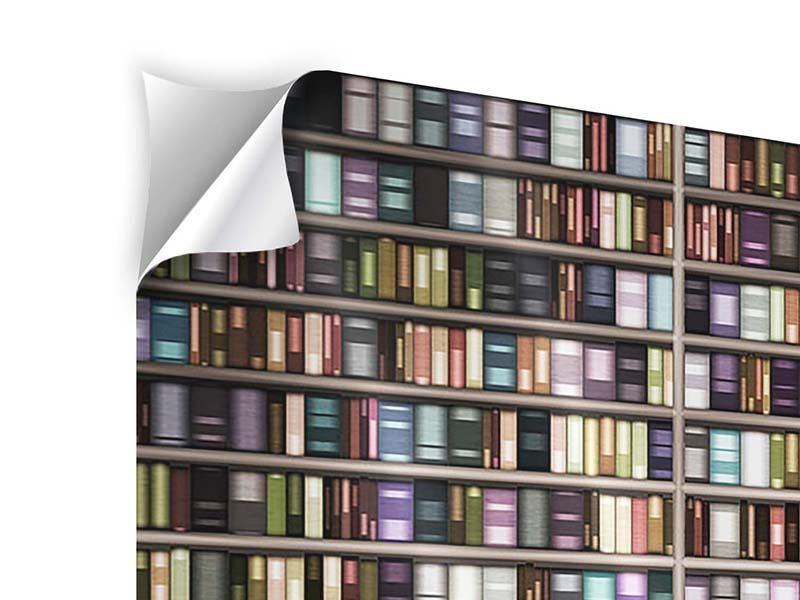 Panorama Klebeposter 3-teilig Bücherregal