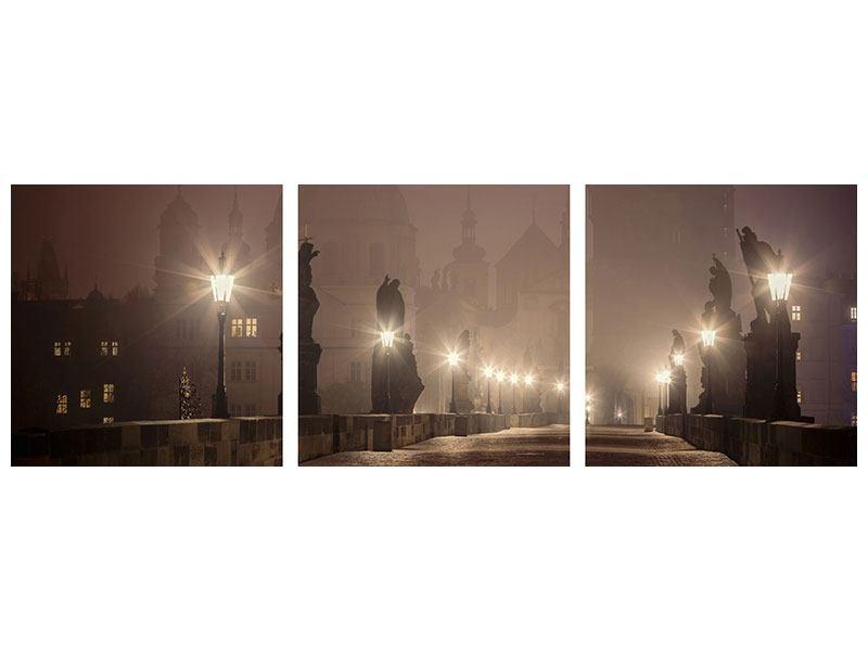 Panorama Klebeposter 3-teilig Die Karlsbrücke bei Nacht