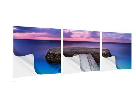 Panorama Klebeposter 3-teilig Meditation am Meer