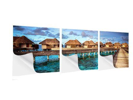 Panorama Klebeposter 3-teilig Traumhaus im Wasser