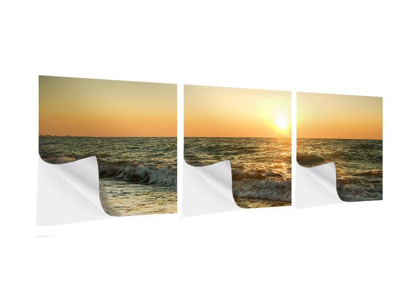 Panorama Klebeposter 3-teilig Sonnenuntergang am Meer
