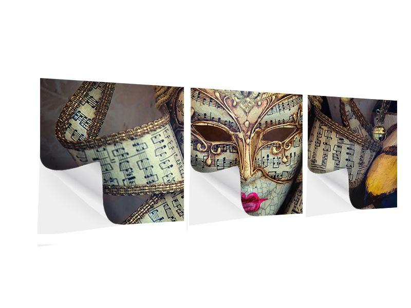 Panorama Klebeposter 3-teilig Venezianische Maske