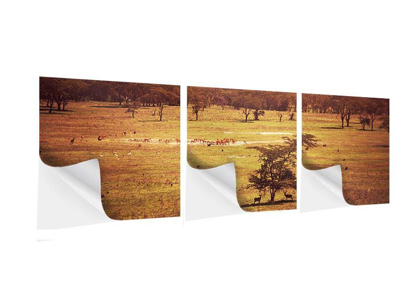 Panorama Klebeposter 3-teilig Malerisches Afrika