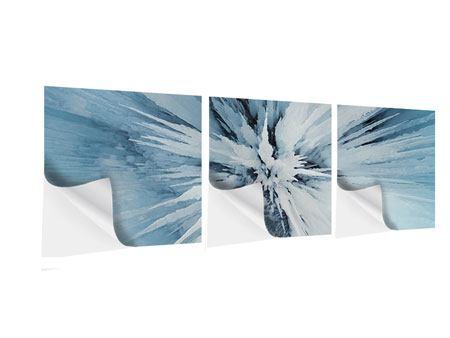 Panorama Klebeposter 3-teilig Eiskunst