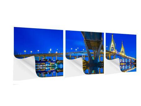 Panorama Klebeposter 3-teilig Bhumiboll-Brücke