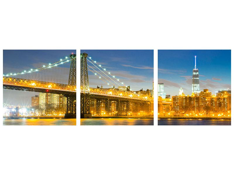Panorama Klebeposter 3-teilig Brooklyn Bridge bei Nacht