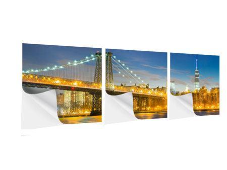 Panorama Klebeposter 3-teilig Brooklyn Bridge bei Nacht