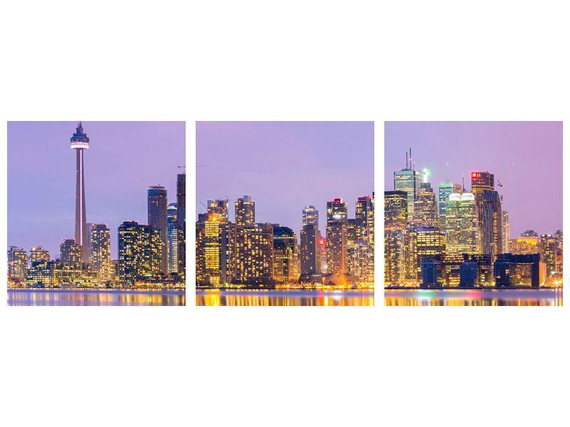 Panorama Klebeposter 3-teilig Skyline Toronto bei Nacht