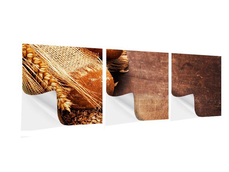 Panorama Klebeposter 3-teilig Frische Brote