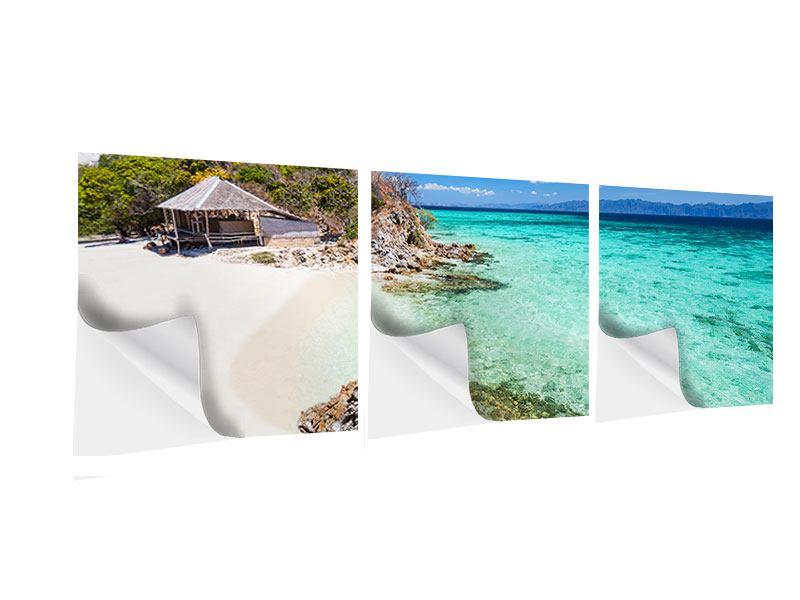 Panorama Klebeposter 3-teilig Das Haus am Strand