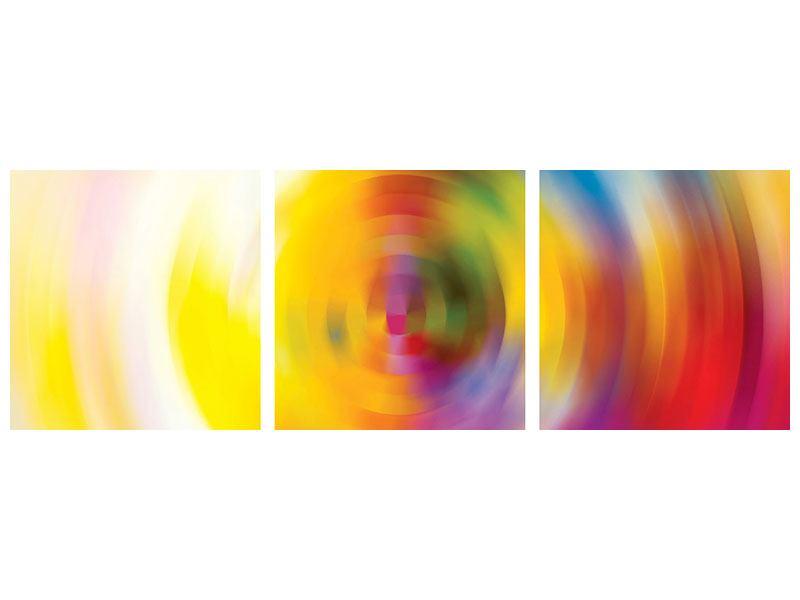 Panorama Klebeposter 3-teilig Abstrakte Farbkreise