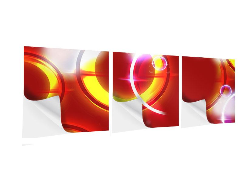 Panorama Klebeposter 3-teilig Abstraktes Retro