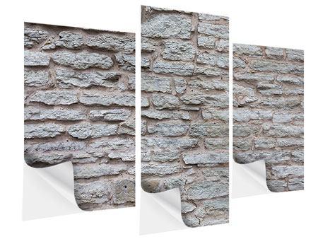 Klebeposter 3-teilig modern Steinmauer