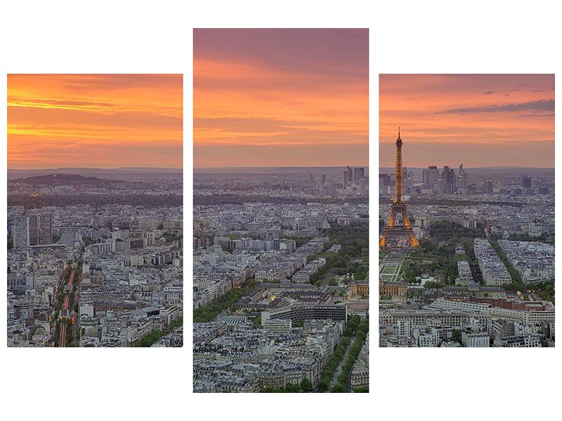 Klebeposter 3-teilig modern Skyline Paris bei Sonnenuntergang