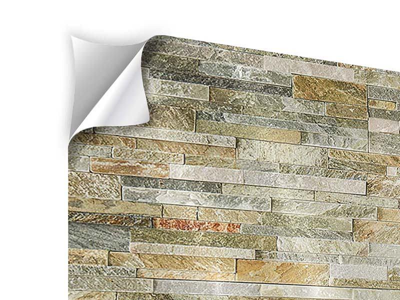 Klebeposter 3-teilig modern Edle Steinmauer