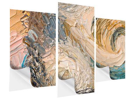 Klebeposter 3-teilig modern Ölgemälde