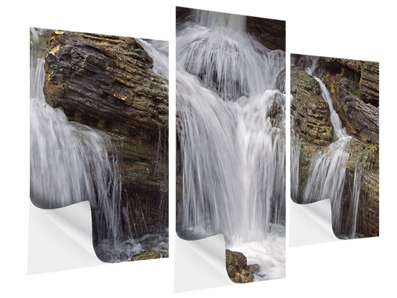 Klebeposter 3-teilig modern Wasserfall XXL
