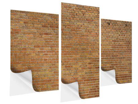 Klebeposter 3-teilig modern Backsteinhintergrund