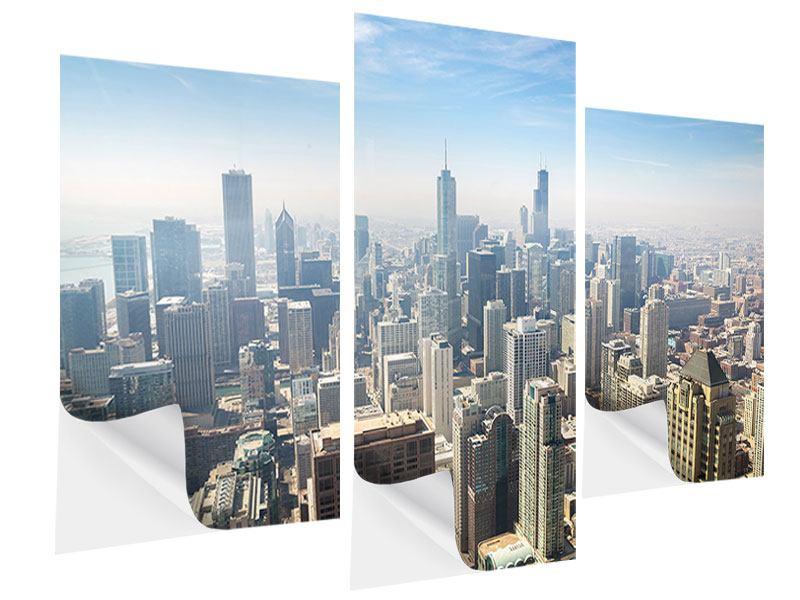 Klebeposter 3-teilig modern Wolkenkratzer Chicago